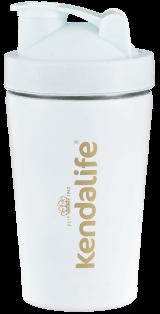 Biały shaker ze złotym logo Kendalife