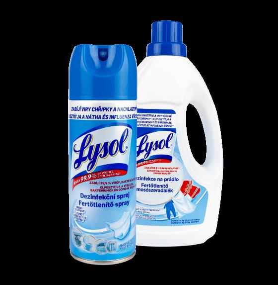 Sprej a lahev dezinfekce na prádlo Lysol